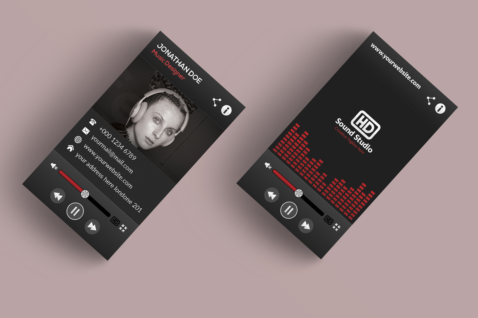 Music player style business card mabd86 free psd templates music player style business card mabd86 accmission